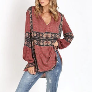 Free People Dobby Changing Times Floral Tunic